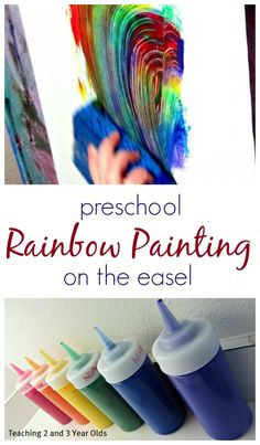 Rainbow Sponge Painting on the Easel - Teaching 2 and 3 Year Olds