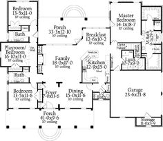 #406-9618 Main Floor - I think this is my favorite layout.  Access to laundry from garage.  Master is on same side of house as laundry and kitchen on same side as garage for unloading grocieries.  I think I would remove the half bath and make the pantry larger.  Also playroom would be great for the grandkids and/or future sewing room.  Also bonus room upstairs ideal for Rick's workout room and office.