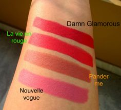 #Maccosmetics matte lipsticks 2014 swatches Mac Damn Glamorous, La vie en rouge, Nouvelle Vogue, Pander Me: Review & Swatches
