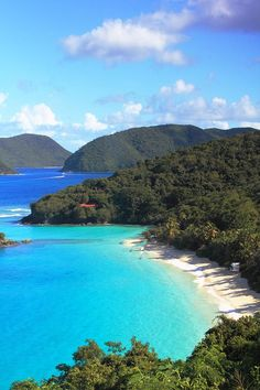View of Trunk Bay Beach and the north shore of St. John - US Virgin Islands