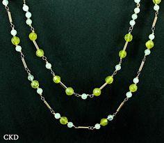 Colar dois fio com pedra jade!! www.ckdsemijoias.com.br