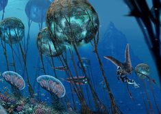 digital concept art for the grand reef biome in subnautica, i like the way how the background has been faded out to give the effect of distance and the coral glow makes the area have an eerie effect. Subnautica Creatures, Weird Creatures, Creature Feature, Creature Design, Subnautica Concept Art, Alien Plants, Underwater City, Beast Creature, Alien Worlds