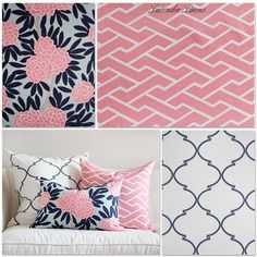 LOVE that pattern: navy blue, light blue, and soft pink! Custom Crib Skirt and Bumper In Caitlyn Wilson by LavenderLinens, $480.00
