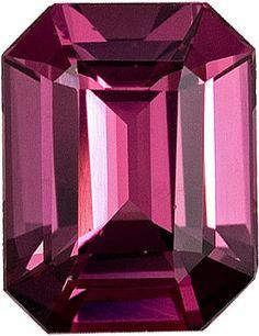 Genuine Rhodolite Garnet Loose Gemstone, Red Violet Color, Emerald Cut, 8.3 x 7.1 mm, 2.53 Carats at BitCoin Gems