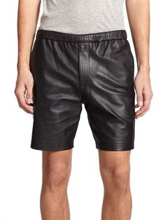 Theory Grego Leather Shorts in Black for Men | Lyst