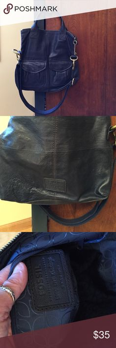Navy Fossil leather bag Great leather Fossil bag...can be used as handle bag or crossbody-- nice sturdy trim.. Fun turn-down style option. Pockets on front and very spacious inside. Perfect condition. Fossil Bags Crossbody Bags