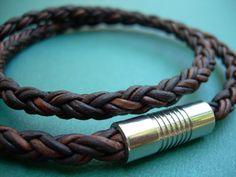 Mens Leather Bracelet Double Wrap Natural by UrbanSurvivalGearUSA, $26.99