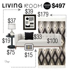 """Living Room Under $500"" by diane-hansen ❤ liked on Polyvore featuring interior, interiors, interior design, home, home decor, interior decorating, Powell, Gus* Modern, Fangio Lighting and Urban Outfitters"
