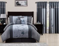 Chezmoi Collection 7 Piece Embroidered Floral Bed in a Bag Comforter Set, California King, Gray Blue