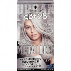 Boost your hair color with unique metallic radianceFor a multi-dimensional metallic lookHead-turning radiance and anti-fading effect for permanent hair dye that lasts.Formulated with metallic-shine booster for cool, shimmering tonesIn the box: 1 tube colo Temporary Hair Color, Permanent Hair Color, Grey Hair Dye, Dyed Hair, White Hair, Pelo Color Plata, Metallic Hair Color, Hair Color Silver Grey, Best Silver Hair Dye