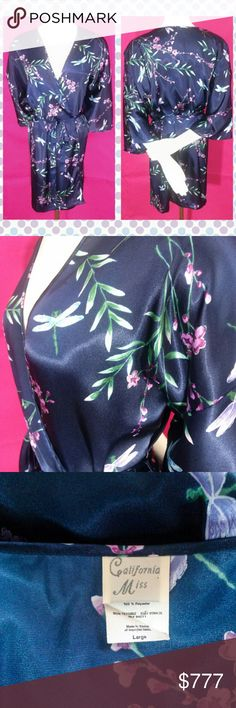 """Vtg California Miss Dragonfly Robe L This robe is gorgeous! Blue glossy satin backs a pattern of flowers are Dragonflies. Excellent Pre-owned condition with no issues to note. Smoke free home!  Approximate measurements  Bust (circumference all the way around): 50"""" Waist(circumference all the way around): 51"""" Hip(circumference all the way around): 52"""" Length (shoulder to bottom hem): 34"""" Arm Length (Outer): 12"""" Arm Width(circumference all the way around at widest part):10"""" Intimates…"""