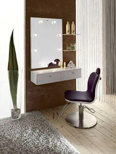 meuble coiffeuse blanche à fixer au mur muni de tiroirs, étagères en verre et miroir à LED