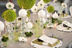 Love the topiaries! Modern Circle Inspired Green & White Wedding Inspiration