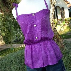 Purple Spaghetti Straps Silk Top Elastic waist band with spaghetti straps that tie to adjust fit. 100% silk. Dry cleaned and ready for new home. Myne Tops Tank Tops