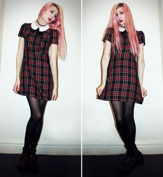 Was A Gift From Chrissy Chrispy Choker, Primark Dress, Primark Tights, Topshop Socks, New Look Creepers Topshop Socks, Creeper Style, Creepers, Tartan, New Look, Tights, Chokers, Punk