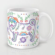 Color Sugar Skull Pug Mug Pug Coffee Mug Dia by mydogismycopilot