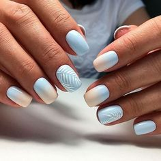 60 Must Try Nail Designs for Short Nails Short Acrylic Nails; Chic and fun Nails; Ombre Nail Designs, Short Nail Designs, Acrylic Nail Designs, Light Blue Nail Designs, Nail Design For Short Nails, Simple Nail Design, Fun Nail Designs, Shellac Nail Designs, Smart Design