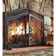 Small Crest Fireplace Screen with Doors Copper Wrought Iron Ornamental Scroll Fireplace Screens With Doors, Fireplace Doors, Fireplace Tool Set, Shiplap Fireplace, Small Fireplace, Concrete Fireplace, Rustic Fireplaces, Farmhouse Fireplace, Marble Fireplaces