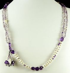DRAGONHORSE STUDIO DESIGN: Purple AMETHYST, Fresh Water Pearl and Crystal Black Silk Knotted Necklace
