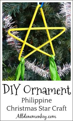 DIY Ornament: Philippine Christmas Star Craft - All Done Monkey Christmas Parol, Christmas Star, Christmas Crafts For Kids, Diy Christmas Ornaments, Holiday Crafts, Christmas Ideas, Family Crafts, Christmas Activities, Christmas Projects