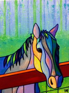 On the fence of AEMgallery on Etsy - Painting Arte Pop, Stained Glass Patterns, Horse Art, Mosaic Art, Art Lessons, Painted Rocks, Folk Art, Glass Art, Art Projects