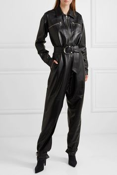 Dodo Bar Or - Barbara belted leather jumpsuit Leather Catsuit, Leather Jumpsuit, Black Jumpsuit, Leather Pants, Black Leather, Pu Leather, Tumblr Outfits, Girly Outfits, Stylish Outfits