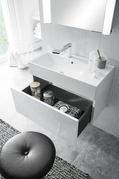 Our favourite 'non-colour' colour of the moment, white! Elite White Gloss bathroom furniture from Bauhaus. http://www.crosswater.co.uk/bathroom-inspiration/trend-focus-its-all-white/
