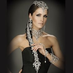 """Indian inspired Parisian Bridal Jewelry Set from http://www.kylescollection.com/ """"A stunning couture set with an unusual head cascading piece which creates a very distinctive look"""""""