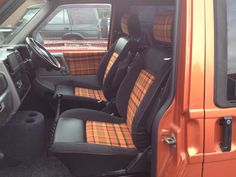 Here is a sneaky peak of Nick and Claire's seats in their caravelle  that they have spent the last two years overhauling. The seats are a mixture of VW OEM fabric, Alcantara and leather.