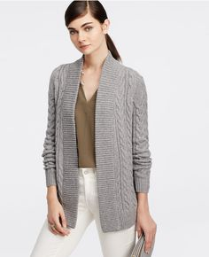 Cable Open Cardigan #AnnTaylor