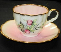 TAYLOR & KENT LONGTON PINK FUCHSIA FLOWER BLENDED PALE PINK TEA CUP AND SAUCER