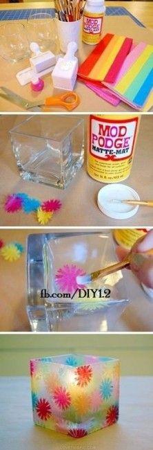 Decoración de frascos de vidrio Sencillo y bonito DIY, que puede servir como centro de mesa con una vela, para guardar cosas, como florero, etc...