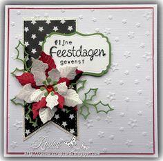 Rosina's Scrapcards: 2 kerstkaartjes week10 Poinsettia Cards