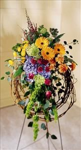 Rural Beauty Wreath Funeral Flowers, Sympathy Flowers, Funeral Flower Arrangements from San Francisco Funeral Flowers.com Search for sympathy and funeral flower arrangement ideas from our SanFranciscoFuneralFlowers.com website. Our funeral and sympathy arrangements include crosses, casket covers, hearts, wreaths on wood easels. Open 365 days and provide delivery everyday including Sunday delivery to funeral homes from San Francisco CA to San Mateo CA. San Francisco Flowers