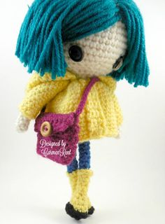 ATTENTION - Keep in mind that this is a crochet pattern in a PDF. This is NOT the finished product. From the movie Coraline directed by Henry Selick. Coraline Petite is approximately 8 1/2 inches tall. Also, please keep in mind that this doll cannot stand up on its own. This is a non-refundable purchase. Once the payment has been confirmed you will be allowed to download the pattern in a PDF. The language in the pattern is in English only. The pattern includes all of the yarns colors I us...