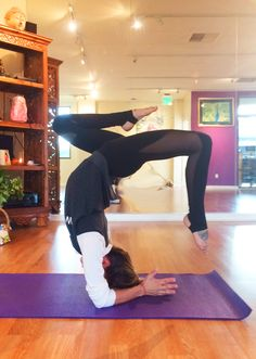 Vrischikaasana : Variation on the Scorpion Pose - Wailea studio. Vrischika is the Sanskrit word for scorpion. This posture is so named because the body resembles a scorpion with its tail arched above its head ready to sting.   Build stamina, endurance, and balance with the scorpion!