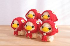 [sold out]Hood duck💓④ Christmas Crochet Patterns, Easy Crochet Patterns, Amigurumi Patterns, Doll Patterns, Crochet Wreath, Crochet Crafts, Crochet Dolls, Crochet Projects, Crochet Bunny Pattern