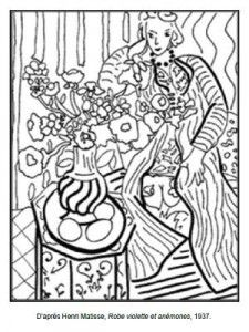 Art appreciation coloring pages tape to shrinky dink page color