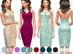 The Sims Resource: Embroidered Lace Halter Dress by ekinege • Sims 4 Downloads