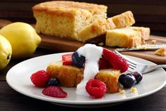 Awesome paleo-friendly and gluten-free recipe for a light and lemony pound cake. Perfect topped with berries and cream. Super simple recipe! Check this one out!
