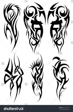 Set of tribal tattoos. EPS 10 vector illustration without transparency.- Set of tribal tattoos. Tribal Tattoo Designs, Tribal Shoulder Tattoos, Tribal Tattoos For Men, Tribal Sleeve Tattoos, Geometric Tattoo Arm, Unique Tattoos, Dorn Tattoo, Stammestattoo Designs, Celtic Tattoos