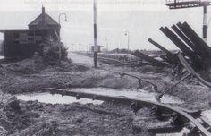 Station na bombardement Tweede Wereld Oorlog