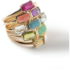 Ippolita 18k Rock Candy Mosaic Cascade Ring ($3,295) ❤ liked on Polyvore featuring jewelry, rings, gioielli, gold, 18k jewelry, mosaic jewelry, hammered jewelry, hammered ring and ippolita ring