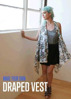The Simple No-Sew Draped Vest | Best of Fall Fashion Trends DIYReady.com | Easy DIY Crafts, Fun Projects, & DIY Craft Ideas For Kids & Adults