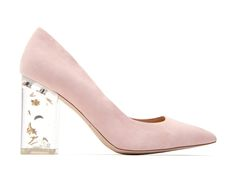 THE HILLARY (by Katy Perry) $139.00 Step in and reach for the stars in this dreamy suede pump complete with a lucite heel filled with glistening stars and moons.