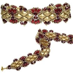 Solitaire Bracelet pattern by Deb Roberti--11/0 seed beads, DiamondDuo beads, 3mm beads and MiniDuo beads