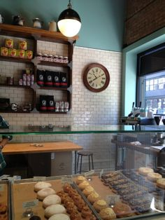firecakes - love the mix of white tiles, duck egg blue and wood