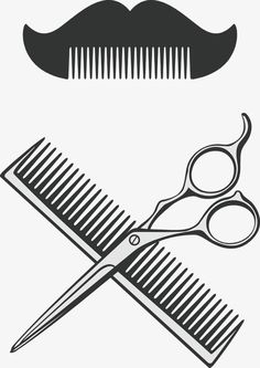 Barber comb and scissors vector PNG and Vector Barber Man, Barber Logo, Hairdresser Logo, Barber Tattoo, Barber Shop Quartet, Handmade Wedding Favours, Stylist Tattoos, Pop Stickers, Hair Sketch