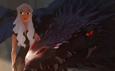 Daenerys Targaryen and drogon, tian yuan on ArtStation at https://www.artstation.com/artwork/RW2yD