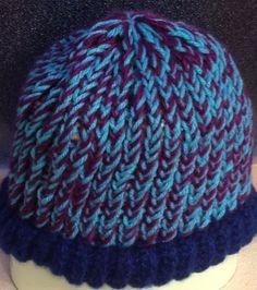 Blue/Purple Loom Knit Hat, Adult Size. $15
